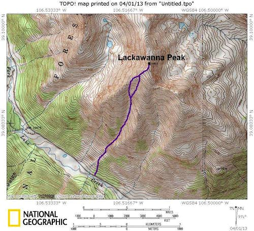 Lackawanna/Southwest Couloir Route