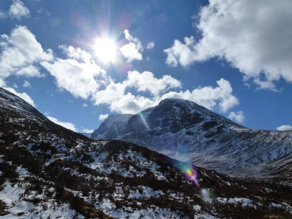 View from the bottom of Carn Mor Dearg to the north face of Ben Nevis