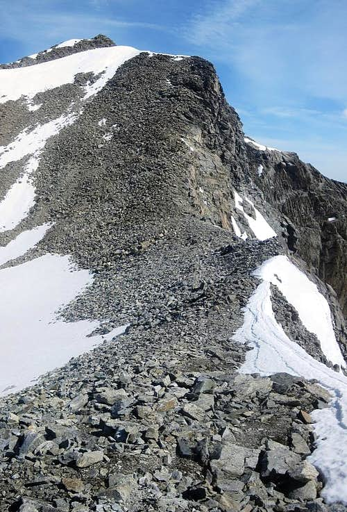 The final section to the summit of Hohe Geige - see that tiny cross up there?