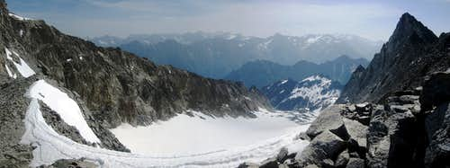 Panoramic view east over the Innere Pirchkar glacier, from just south of Hohe Geige