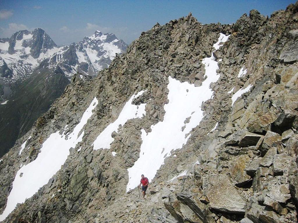 High on the Hohe Geige normal route