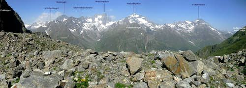 Annotated panorama of the southern Kaunergrat from the Geigenkamm
