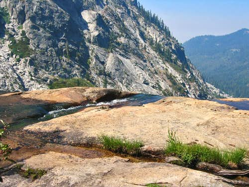 High Sierra Trail top of waterfall on way to Hamilton Lake