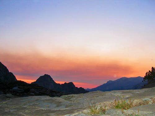 High Sierra Trail Sunset on Bluffs above Hamilton Lake