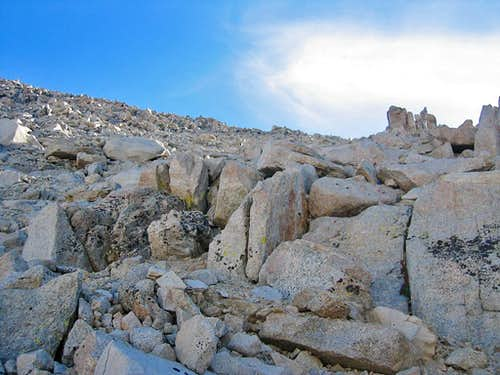 High Sierra Trail ascending to Whitney from Guitar Lake