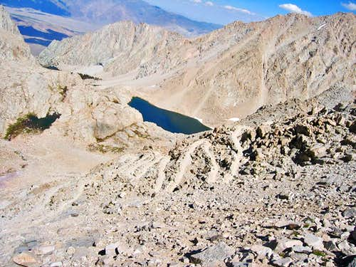 High Sierra Trail switchbacks coming down from Mt. Whitney