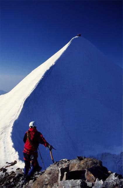 Summit ridge early in the...