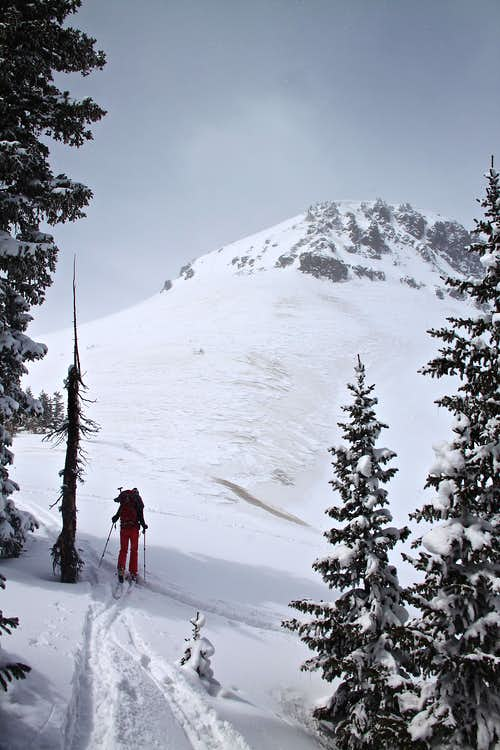 Skinning up below Trico Peak
