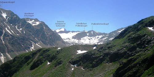 Annotated panorama of the southern Pollestal