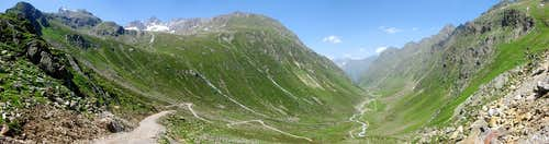 Panoramic view down the glacier carved Pollestal valley