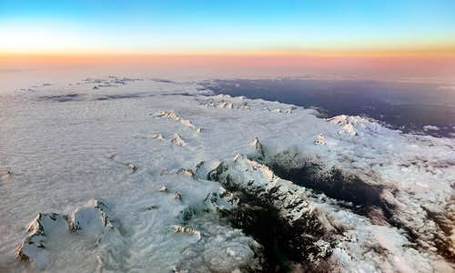 Aerial view of Pennine Alps at dusk