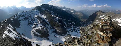120° summit pano from Pollesfernerkopf (3015m) to Geigenkamm, Pollestal and Polleskamm