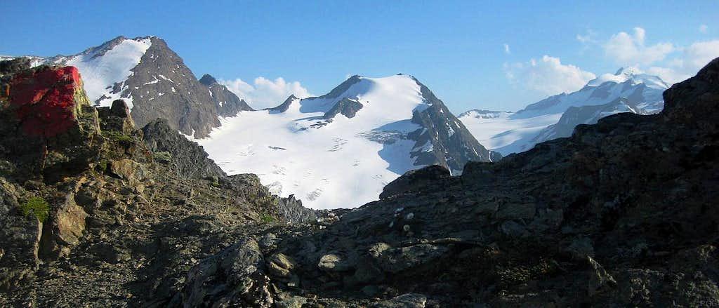 Innere Schwarze Schneide (3367m), Linker Fernerkogel (3277m) and Wildspitze (3768m) from close to Nördlicher Polleskogel