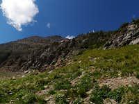 Ramp above cliffs on Heavens Peak
