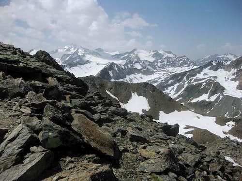 Wildspitze, Hinterer Brochkogel and Brunnenkogel from Schwarzkogel