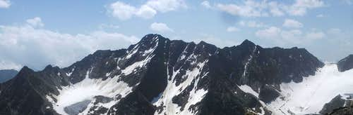 Geislacher Kogel (3056m) and Äußere Schwarze Schneide (3255m) from Schwarzkogel