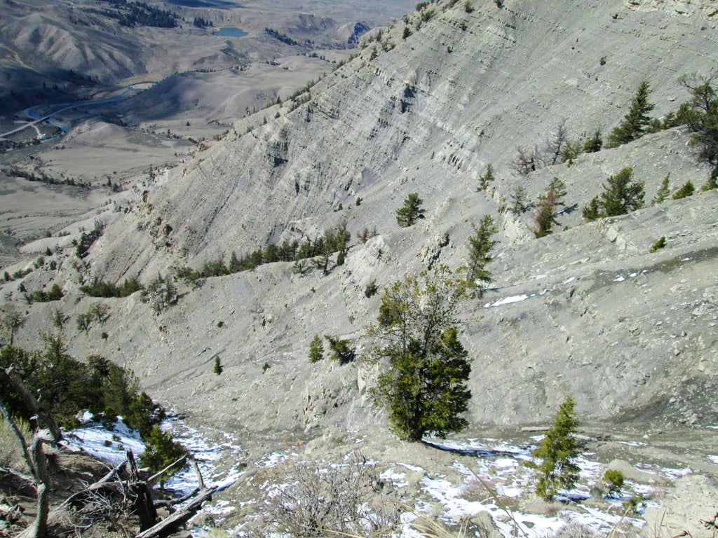 Looking down the steep northwest face of Mount Everts from near the top
