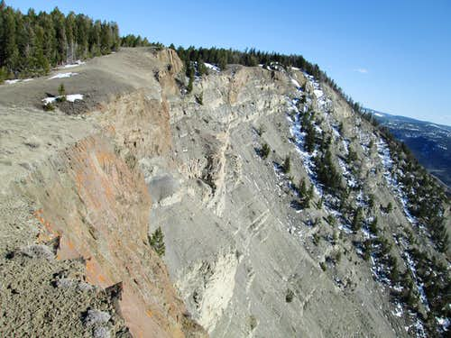 Large cliff band at the top of the northwest face of Mount Everts