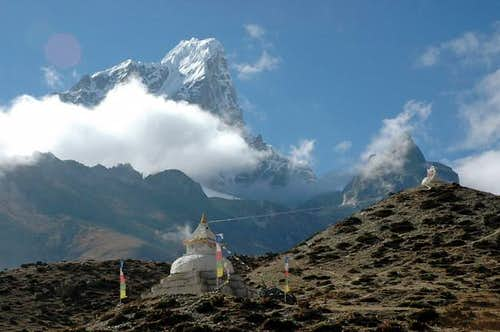 The stupas of Dingboche in...
