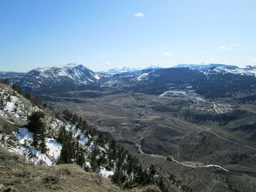 Bunsen Peak and Mammoth Hot Springs, seen from the summit of the northwest face of Mount Everts