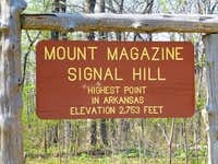 Mount Magazine summit sign