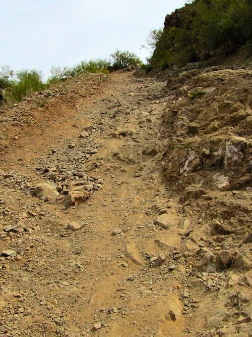 Very steep trail