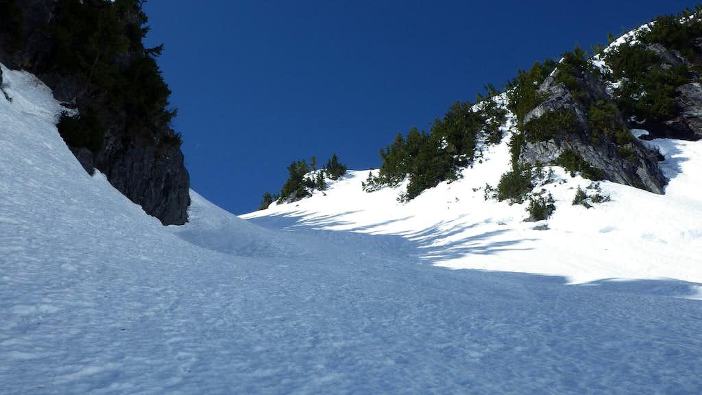 Climbing the snow gully