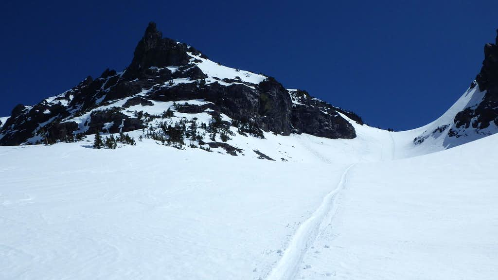 Our glissade path down from the saddle