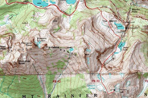 Unicorn Peak route map