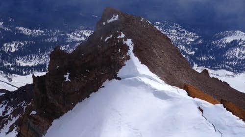 Thumb Rock and the bergschrund on Konwakiton Glacier , Mt Shasta