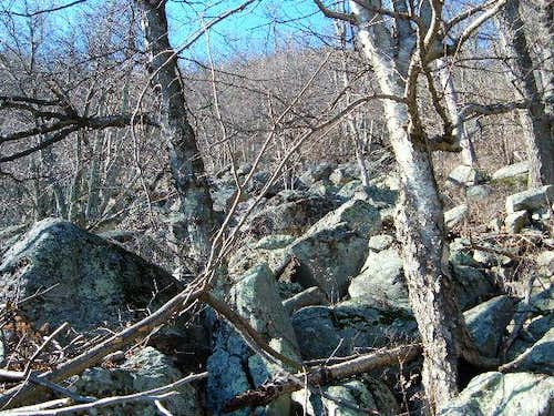 Looking up the boulders I...