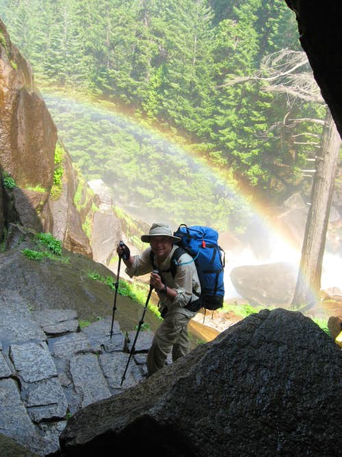 Framed by a Rainbow on the Mist Falls Trail