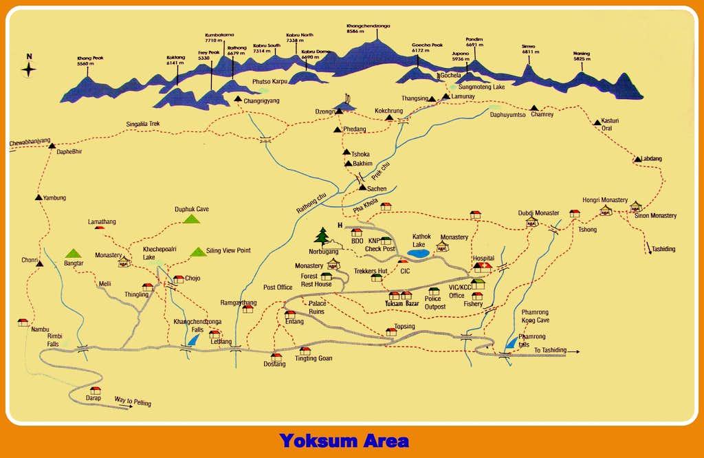 Goecha Là and Yoksum Area map