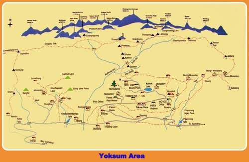 Goecha Là and Yoksum Area map