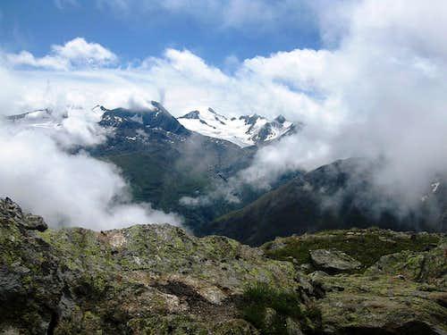 The Schalfkogel peeking through the clouds