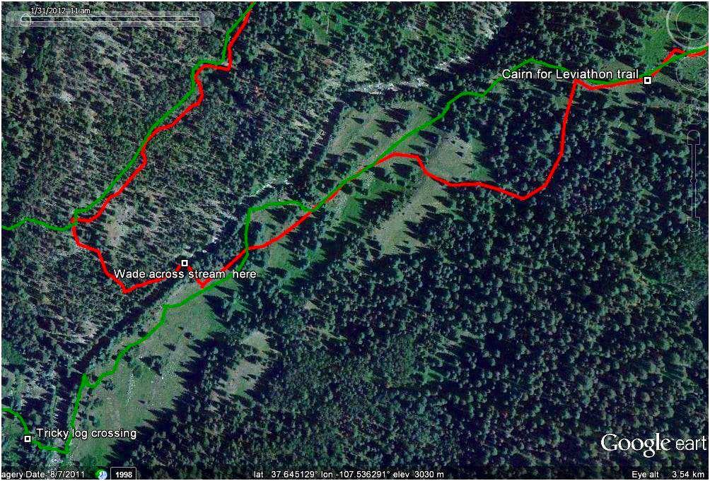 Stream crossing in google earth