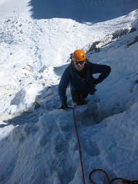 Jeroen watching me climb from the base of the icefall
