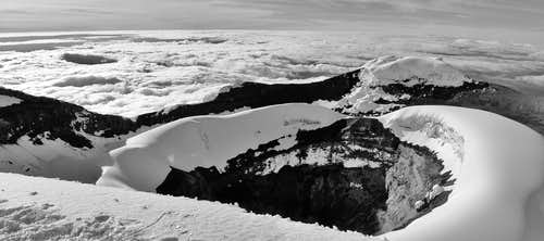 Cotopaxi crater panorama in B&W