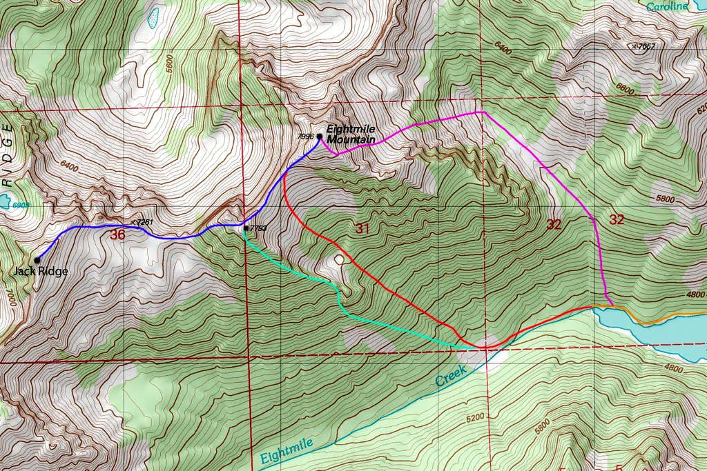 Eightmile Peak topo map