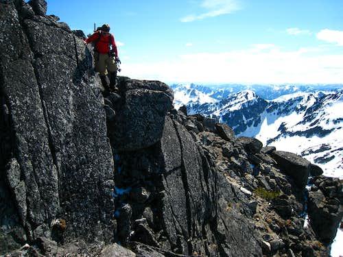 Downclimbing a short Class 4 step