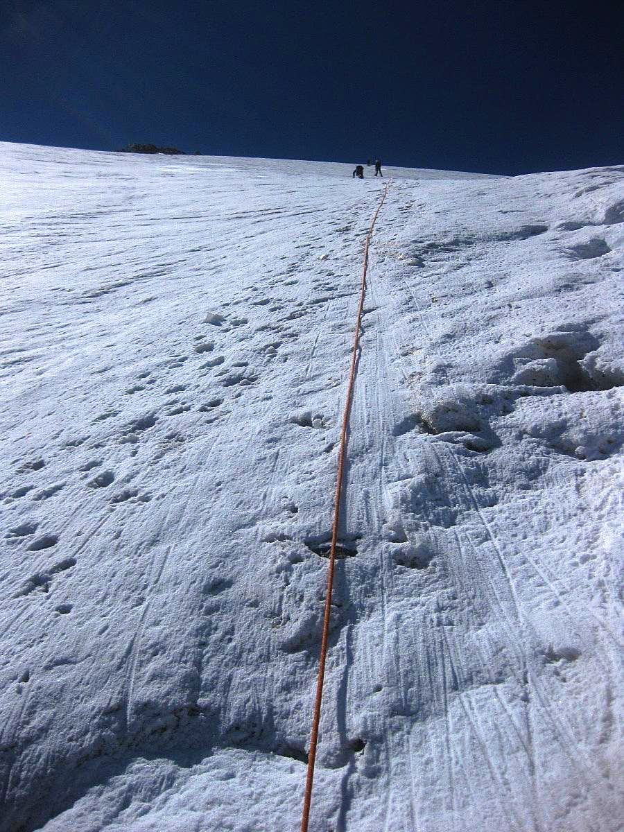 Climbing the steep Mutmalspitze N face