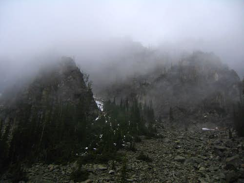 Eightmile Mountain in the clouds