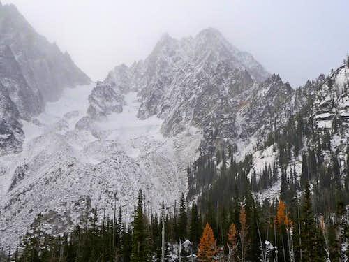 Fall Greets Winter at Colchuck Lake