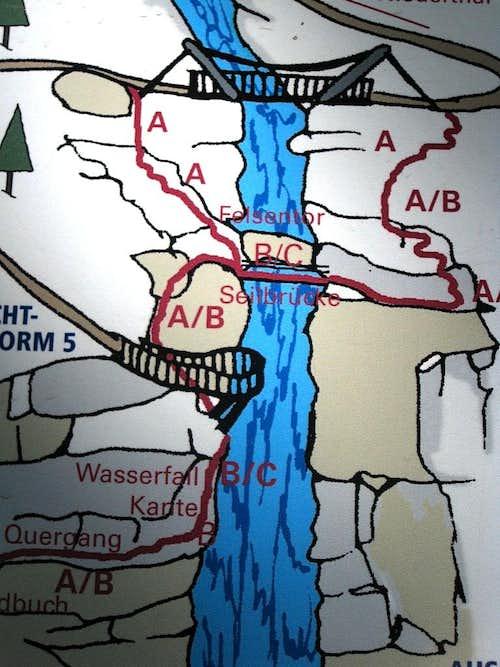 Detail of the Stuibenfall Via Ferrata information panel