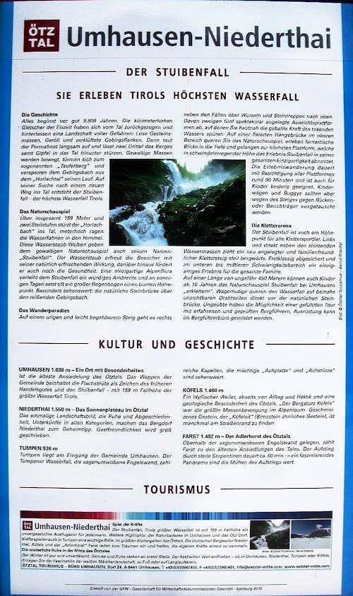 Stuibenfall information panel