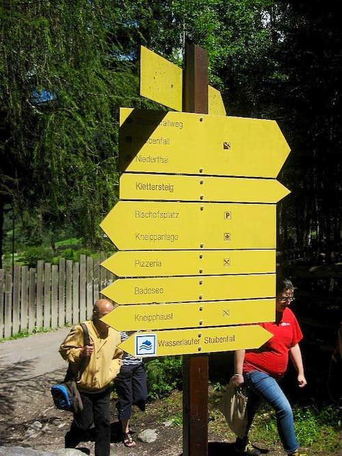 Signs near the entrance of Ötzi Dorf