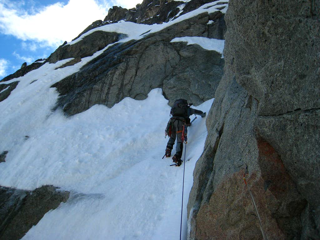 First constriction in the couloir