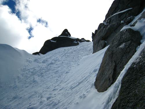 Near the top of the couloir
