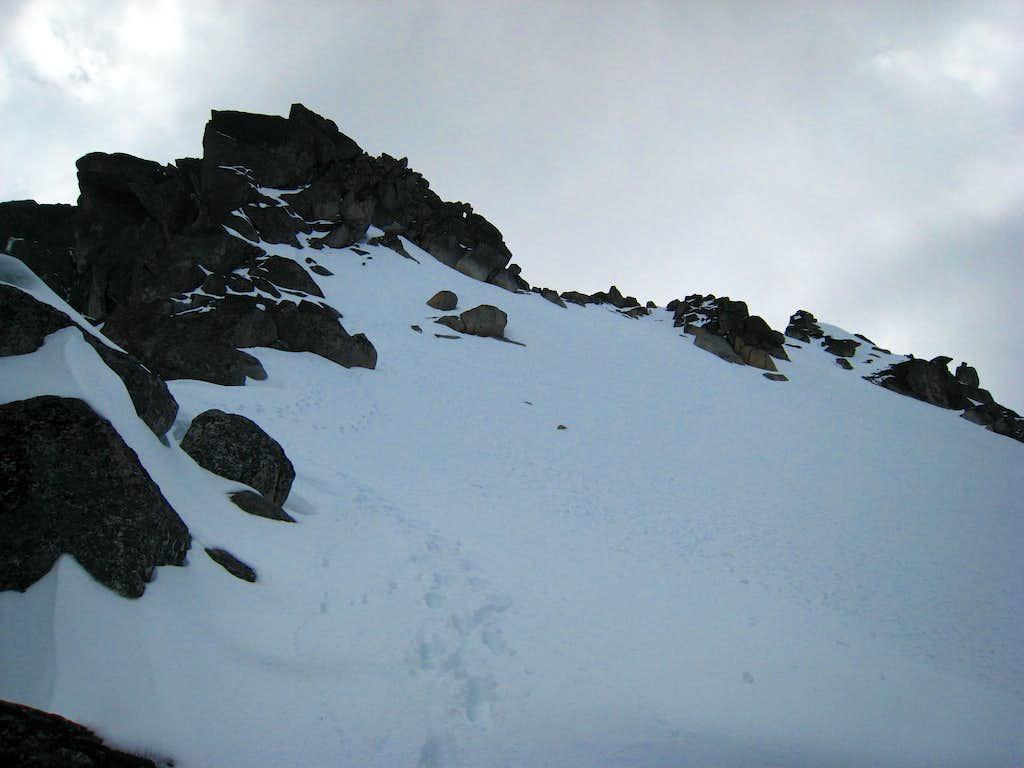Descending the upper snowfield