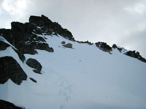 Descending the upper snowfield